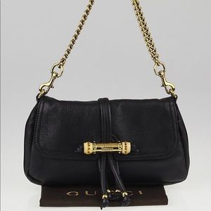 Gucci Black Leather Bamboo Bag